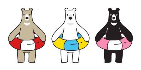 Bear vector polar bear swimming ring pool beach cartoon character icon illustration
