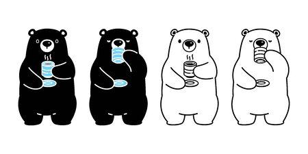 Bear vector polar bear tea coffee drink cartoon character icon  isolated illustration black 일러스트