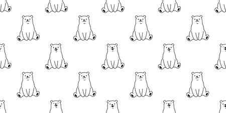 bear vector polar bear teddy panda seamless pattern wallpaper Illustration