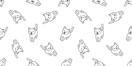 cat Seamless pattern vector kitten calico smile cartoon scarf isolated tile background repeat wallpaper doodle illustration  イラスト・ベクター素材