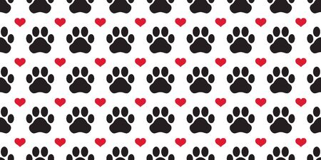 Dog Paw seamless pattern vector footprint heart valentine puppy cat tile background repeat wallpaper scarf isolated cartoon illustration 일러스트