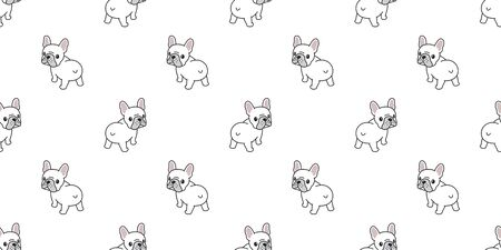 Dog seamless pattern french bulldog vector tile background scarf isolated wallpaper illustration cartoon