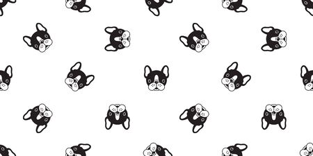 Dog seamless pattern vector french bulldog pug repeat background isolated wallpaper
