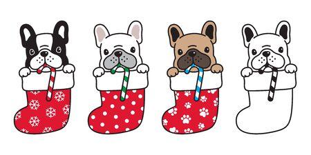 dog vector french bulldog christmas sock candy cane Xmas Santa claus snowflake cartoon character icon illustration