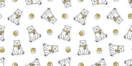 bear seamless pattern polar bear vector honey scarf isolated panda teddy cartoon background repeat wallpaper yellow 일러스트