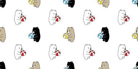 Bear seamless pattern vector polar bear ball balloon cartoon scarf isolated repeat wallpaper tile background illustration 일러스트
