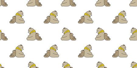 Bear seamless pattern vector polar bear sitting sleeping cartoon scarf isolated tile background repeat wallpaper illustration