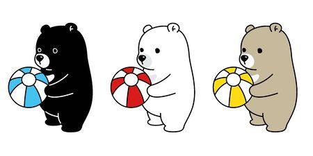 Bear vector polar bear ball balloon icon character cartoon illustration 일러스트
