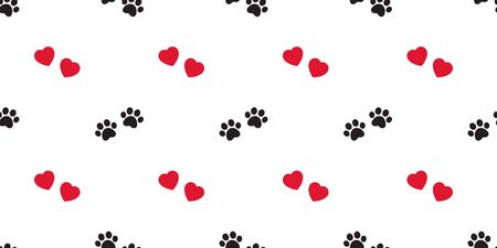 Dog Paw seamless pattern vector heart valentine footprint french bulldog repeat wallpaper tile background scarf isolated cartoon illustration