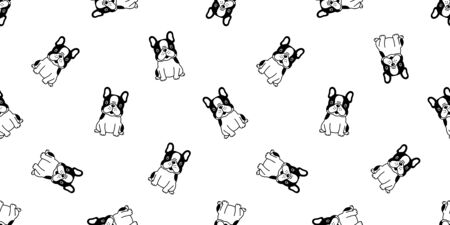 dog seamless pattern vector french bulldog sitting dog paw cartoon scarf isolated tile background repeat wallpaper illustration 일러스트