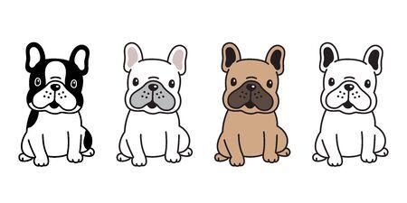 dog vector french bulldog cartoon character icon sitting smile breed illustration