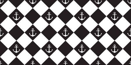 Anchor Seamless pattern vector boat checked Pattern pirate helm nautical maritime tile background isolated repeat wallpaper Çizim