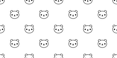 bear seamless pattern polar bear vector panda teddy background isolated wallpaper repeat