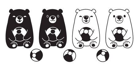 Bear vector polar bear ball balloon toy sitting cartoon character icon  illustration white
