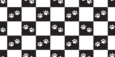Dog Paw seamless pattern vector footprint checked french bulldog scarf isolated repeat wallpaper tile background illustration cartoon