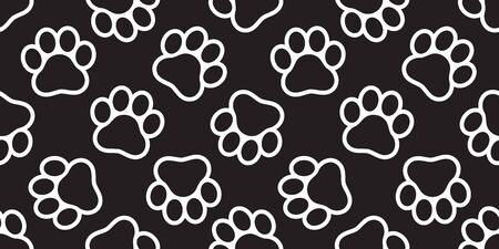 Dog Paw seamless pattern vector footprint cat puppy tile background repeat wallpaper isolated illustration cartoon black