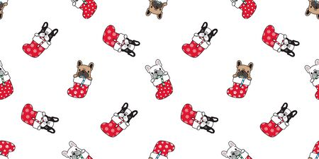 dog seamless pattern Christmas sock vector french bulldog Santa Claus Xmas snowflake candy cane dog paw cartoon scarf isolated tile background repeat wallpaper illustration