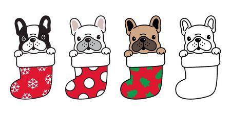 Hund Vektor französische Bulldogge Weihnachtssocke Weihnachten Weihnachtsmann Schneeflocke Cartoon Charakter Symbol Illustration