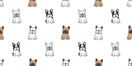 Hund nahtlose Muster Vektor französische Bulldogge sitzende Hunderasse Pfote Cartoon Schal isoliert Fliese Hintergrund wiederholen Tapete Illustration