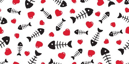 fish bone seamless pattern vector heart valentine tuna salmon dolphin shark ocean sea scarf isolated tile background repeat wallpaper