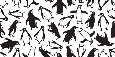 penguin seamless pattern vector cartoon bear polar salmon fish bird scarf isolated tile background repeat wallpaper doodle illustration Иллюстрация