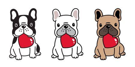 Hund Vektor Französische Bulldogge Herz Valentinstag Cartoon Charakter Symbol Sitzen Lächeln Logo Rasse Illustration