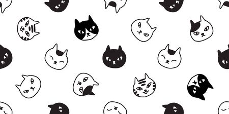 cat Seamless pattern vector kitten calico breed paw halloween cartoon scarf isolated tile background repeat wallpaper illustration doodle