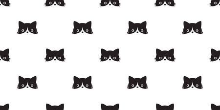 cat seamless pattern vector head calico black kitten scarf isolated repeat wallpaper cartoon tile background illustration