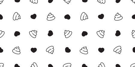 Poo Seamless pattern heart vector valentine cartoon isolated wallpaper tile background illustration Çizim