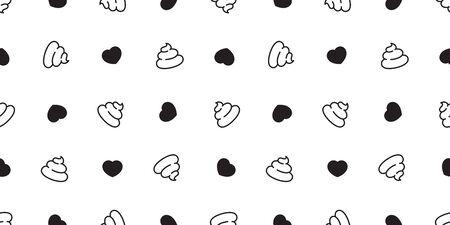 Poo Seamless pattern heart vector valentine cartoon isolated wallpaper tile background illustration Illustration