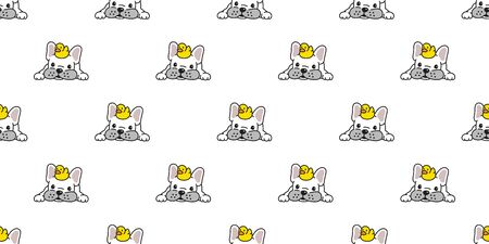 Dog seamless pattern french bulldog vector duck rubber scarf isolated repeat wallpaper cartoon tile background