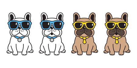 dog vector french bulldog sunglasses icon cartoon character puppy illustration
