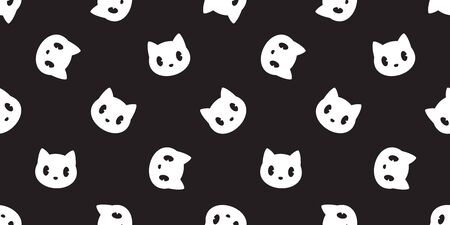 cat seamless pattern vector head kitten calico repeat wallpaper scarf isolated cartoon tile background doodle illustration black