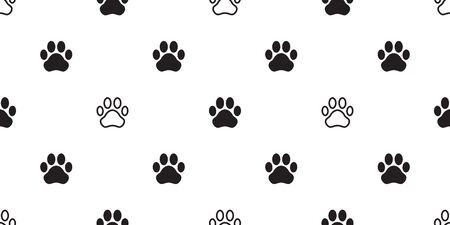 Dog Paw seamless pattern vector footprint cat puppy scarf isolated tile background repeat wallpaper cartoon illustration black white