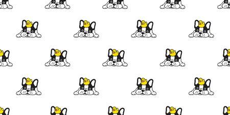 Hund nahtlose Muster französische Bulldogge Vektor Gummiente Schal isoliert wiederholen Tapete Cartoon Fliese Hintergrund