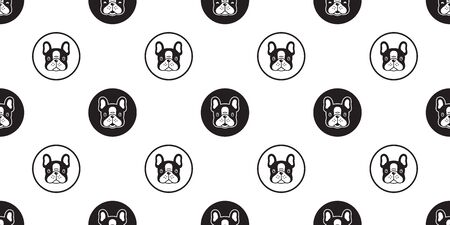 Dog seamless pattern french bulldog vector scarf isolated polka dot cartoon tile background repeat wallpaper