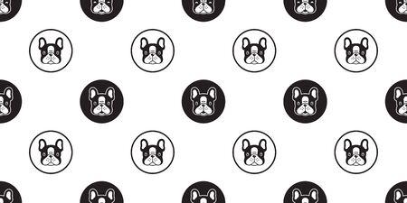 Hund nahtlose Muster französische Bulldogge Vektor Schal isoliert Polka Dot Cartoon Fliese Hintergrund wiederholen Tapete
