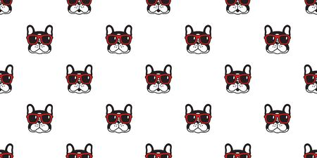 Dog seamless pattern french bulldog vector sunglasses scarf isolated repeat wallpaper cartoon tile background black