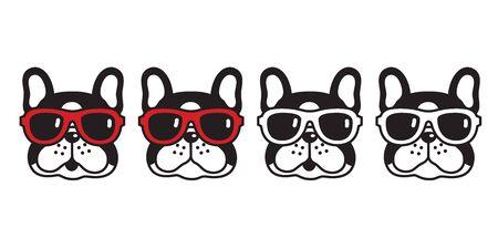 dog vector french bulldog sunglasses icon cartoon character puppy illustration black