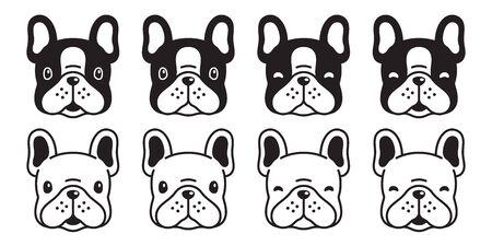 犬ベクトルフレンチブルドッグアイコンヘッド漫画のキャラクターの子犬のロゴイラスト白黒