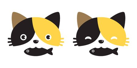 cat vector calico head icon logo kitten fish cartoon character illustration