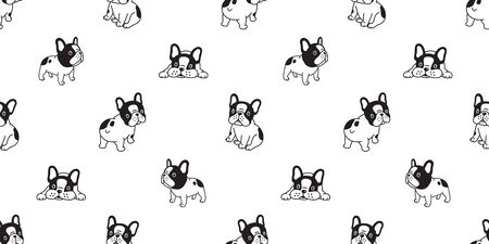 Dog seamless pattern french bulldog vector scarf isolated cartoon repeat wallpaper tile background illustration