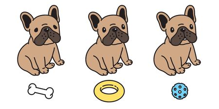 dog vector french bulldog icon character cartoon puppy bone food bowl toy breed logo illustration doodle brown