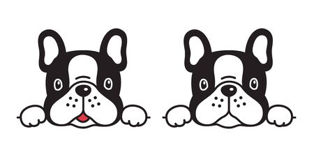 Hund Vektor französische Bulldogge Symbol Charakter Cartoon Welpe Lächeln Logo Illustration Symbol Gekritzel Schwarz