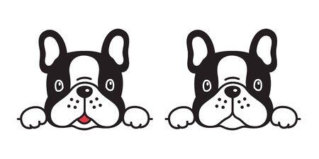 dog vector french bulldog icon character cartoon puppy smile logo illustration symbol doodle black Illustration