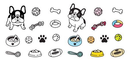 Dog vector french bulldog icon paw bone food bowl ball toy footprint cartoon character illustration doodle
