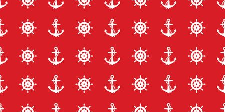 Anchor helm Seamless Pattern vector boat isolated maritime Nautical sea ocean repeat wallpaper tile background red Stock Illustratie