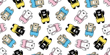 Bear seamless pattern vector polar bear bib overalls scarf isolated cartoon repeat wallpaper tile background illustration Stockfoto - 133834230