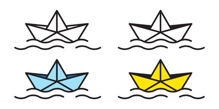 boat vector icon origami logo paper sailboat yacht Nautical maritime float ocean illustration doodle Stock Illustratie