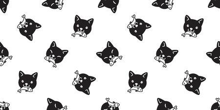 cat seamless pattern vector calico kitten eating fish salmon tuna scarf isolated cartoon repeat wallpaper tile background illustration doodle black